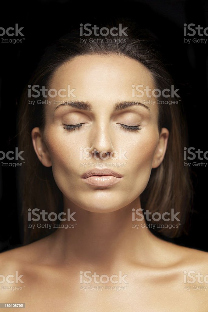 Lovely unblemished woman's face royalty-free stock photo