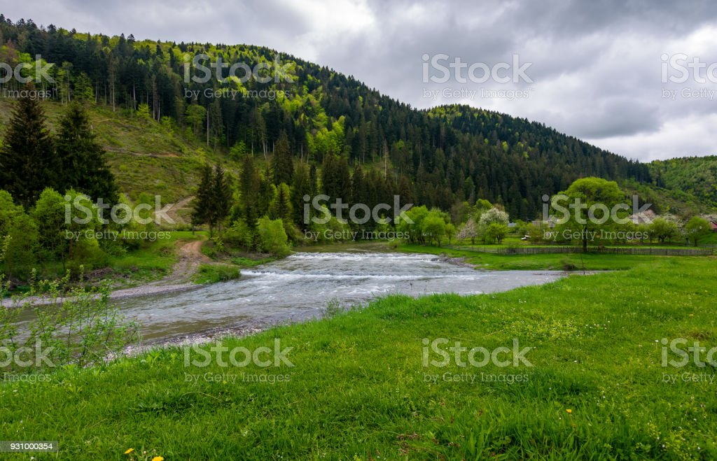 lovely village outskirts on the river bank stock photo