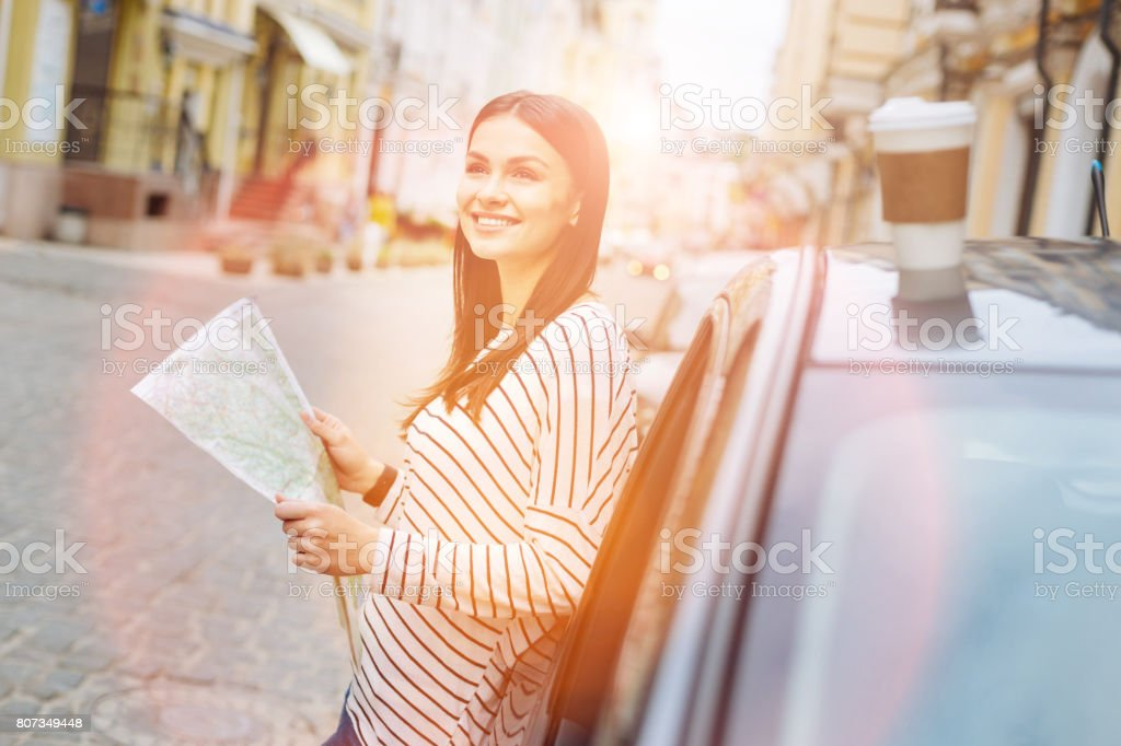 Lovely woman checking map during car stop stock photo