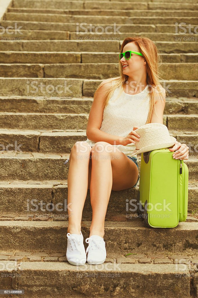 Lovely woman on trip journey in summer. foto stock royalty-free