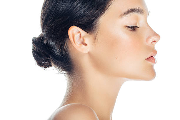 lovely woman - profile view stock photos and pictures