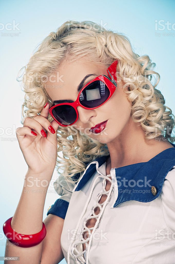 Lovely woman retro portrait royalty-free stock photo