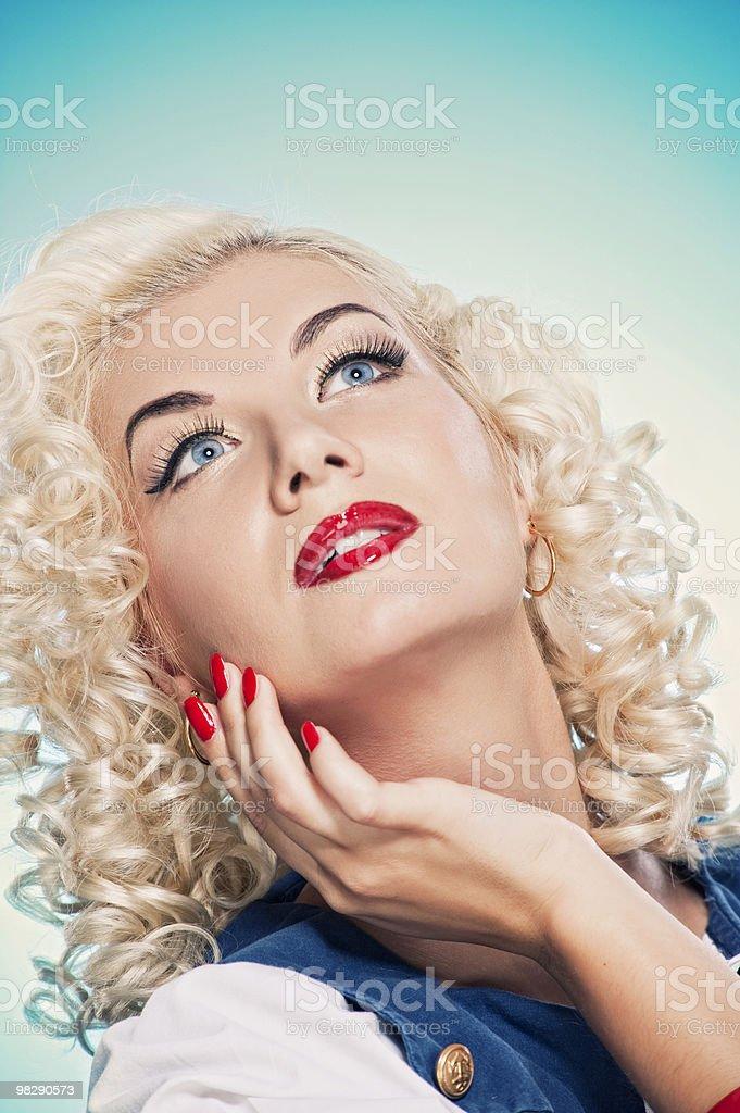 Lovely woman retro portrait royalty-free stock photo