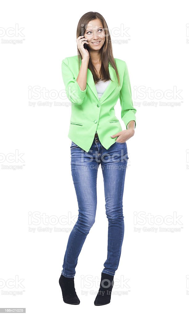 Lovely woman talking on mobile phone stock photo