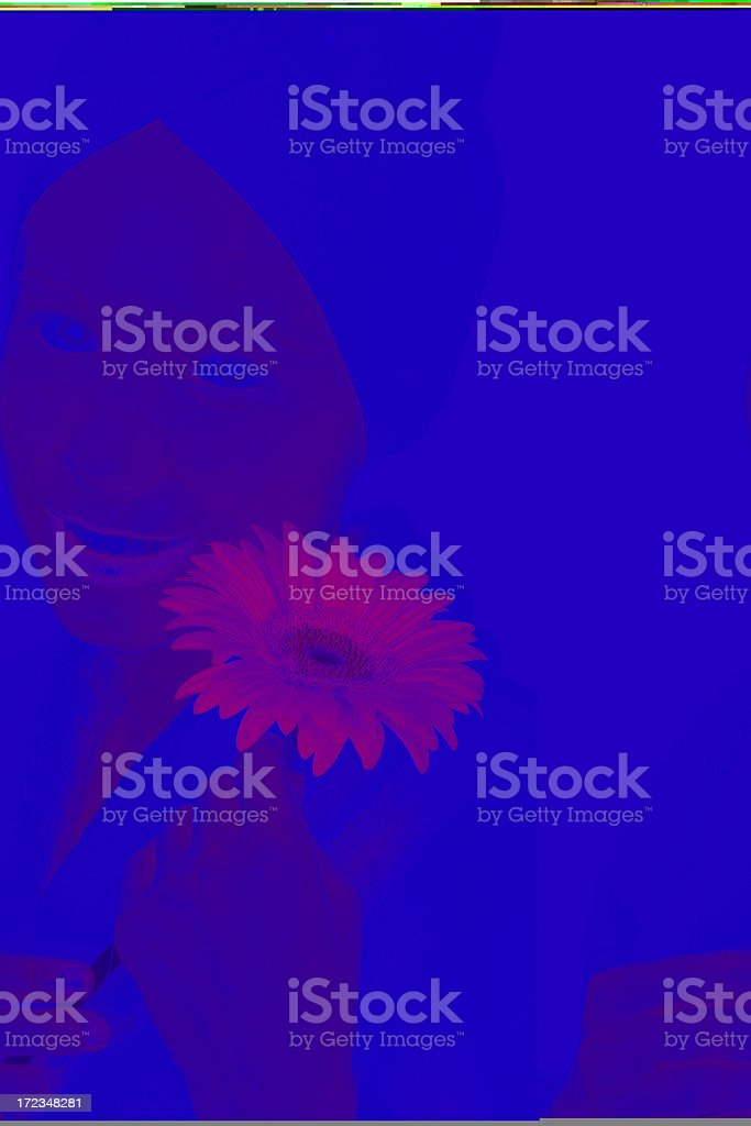lovely woman with red flower royalty-free stock photo