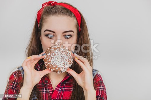 Would you like a doughnut? Pin-up style. White background. Closeup.