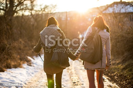 Rear Attractive On Attractive Women, Gay Couple, Walking With  Adorable Puppy On Snowy Day