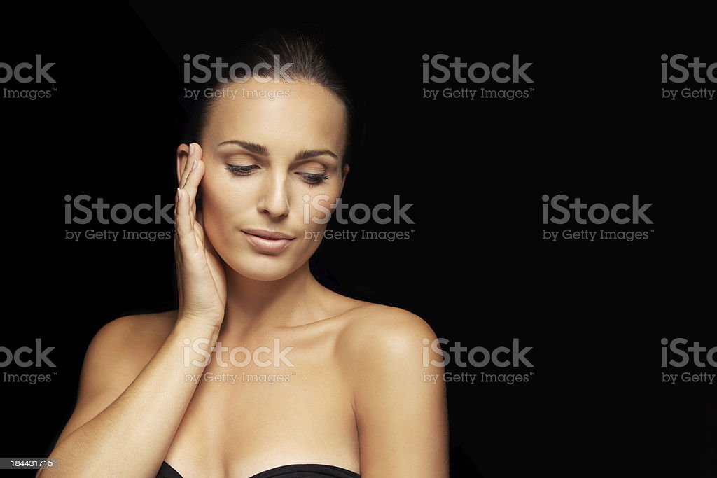 Lovely young lady with beautiful skin stock photo