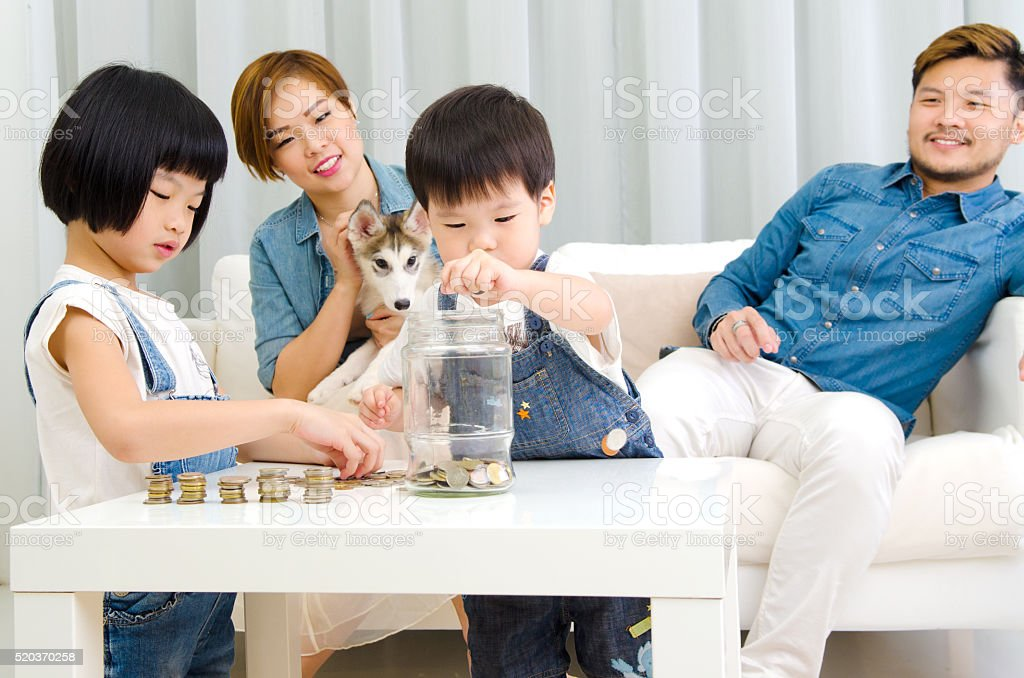 Lovely young savers stock photo