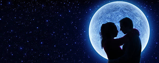 lovers and super moon in the starry nignt - valentines - romantic moon stock photos and pictures