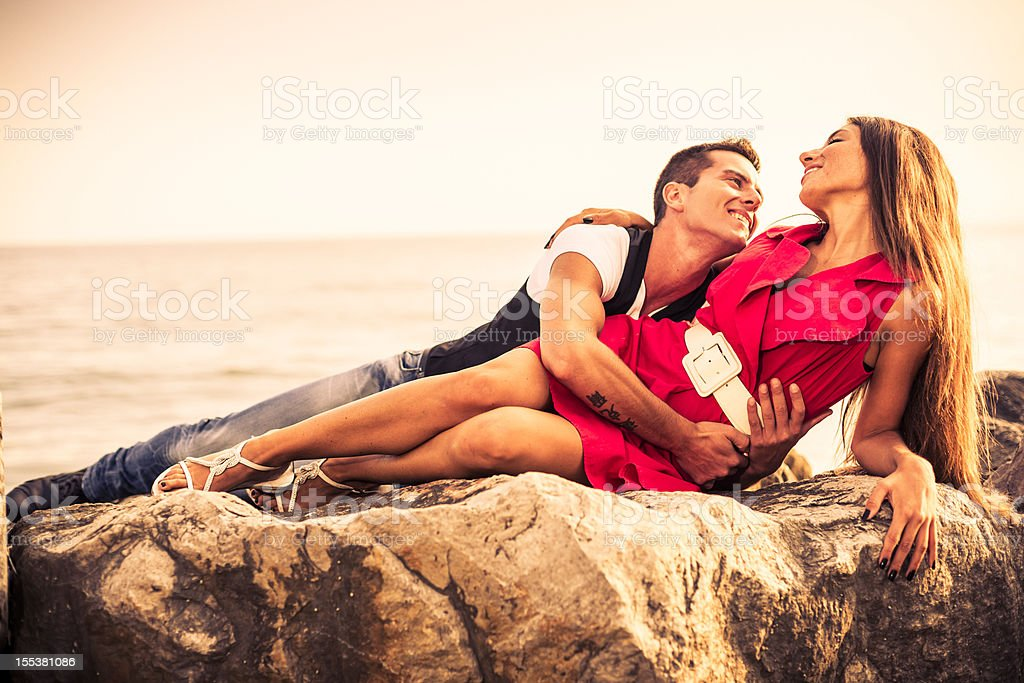 Lovers at Sunset royalty-free stock photo