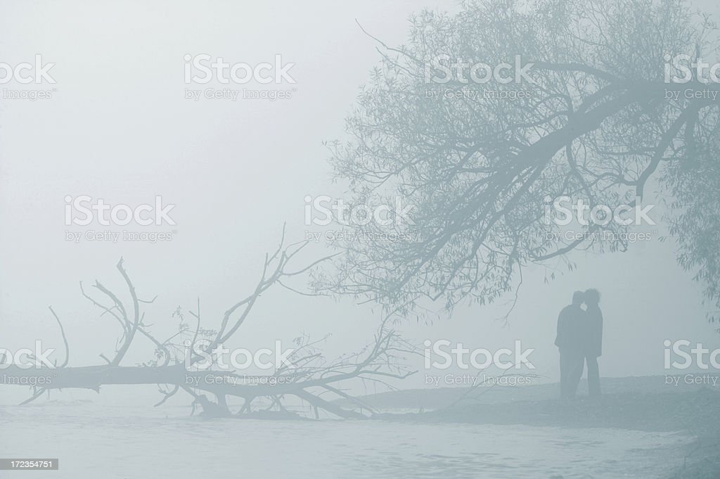 Lovers in the fog royalty-free stock photo