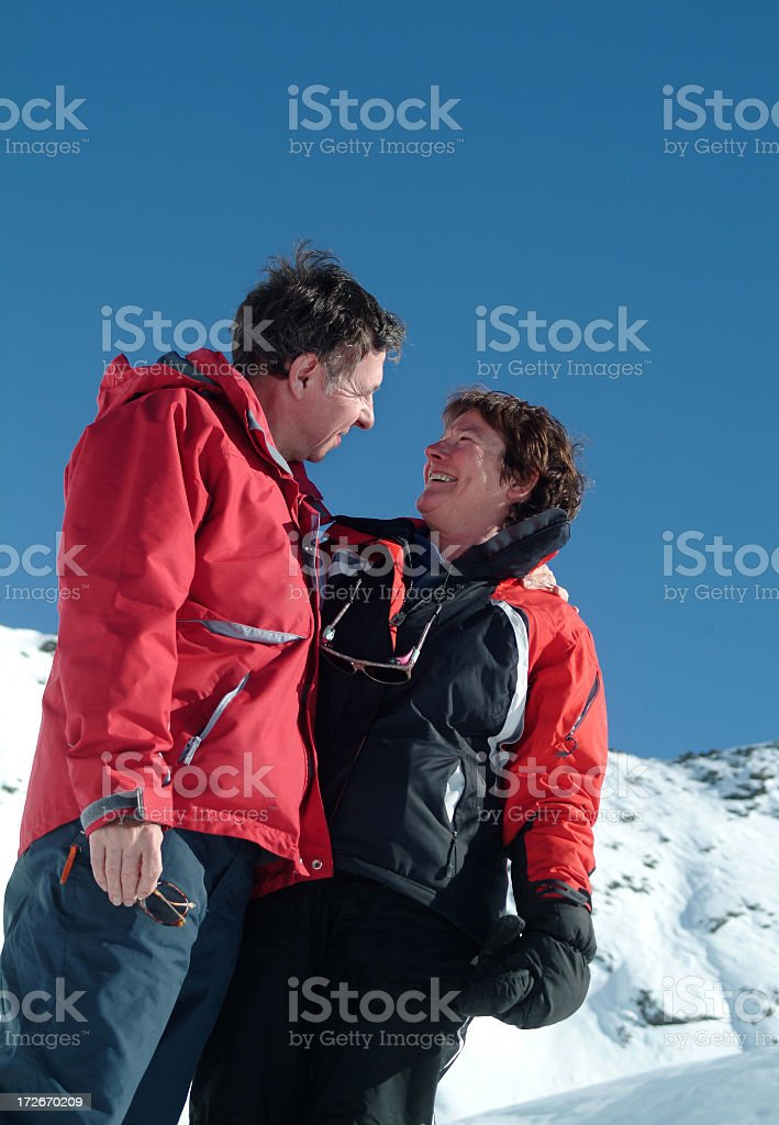 Lovers in the snow 2 royalty-free stock photo