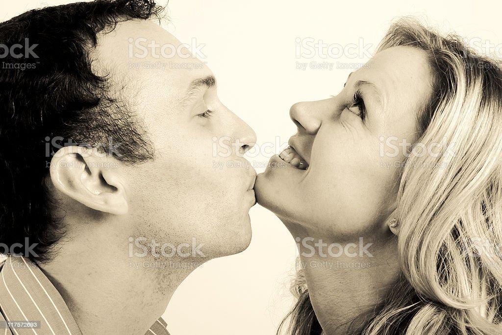 Woman mating man kissing, hustler mini-z commercial lawn mower