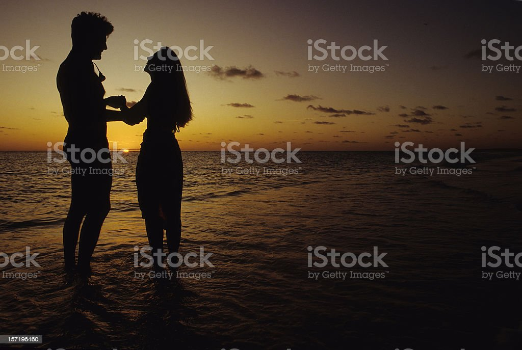 Lover's Laughing On Beach royalty-free stock photo