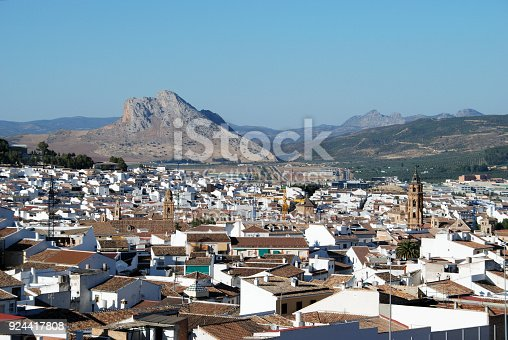 View looking East towards the Lovers Mountain (La Pena de los Enamorados), Antequera, Malaga Province, Andalucia, Spain, Western Europe.