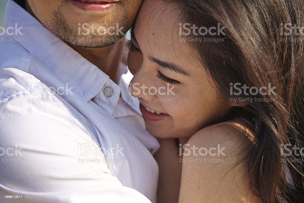 lovers on beach stock photo