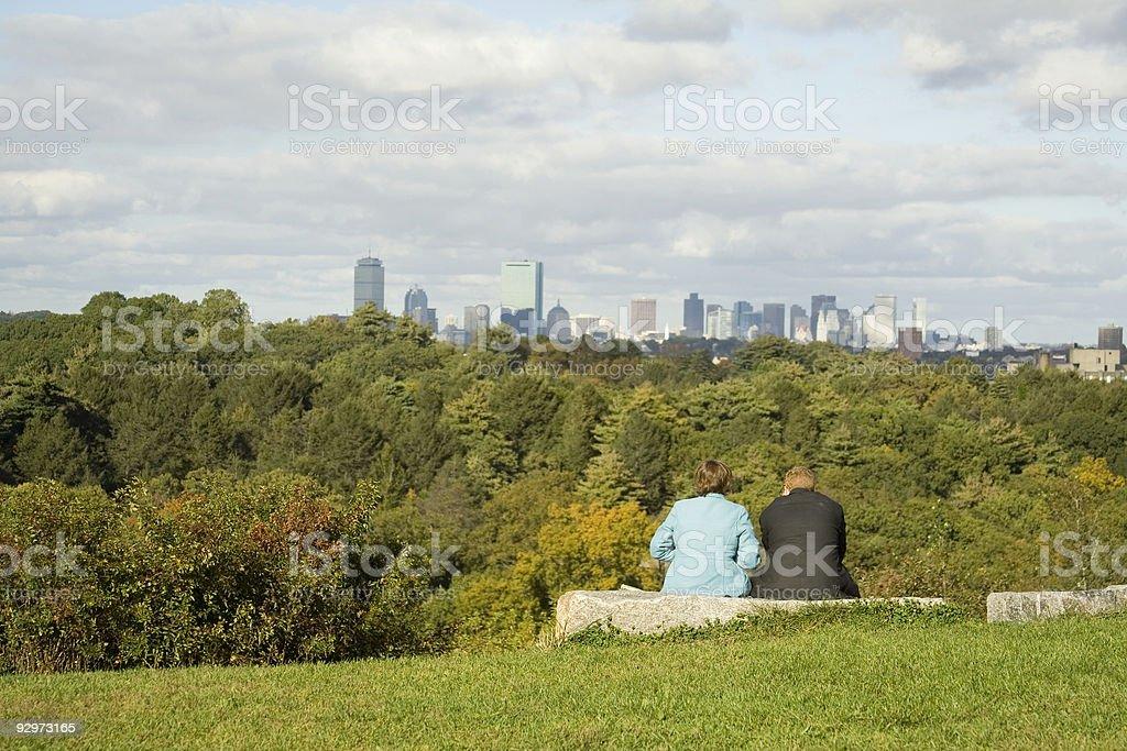 Lovers Over Boston stock photo