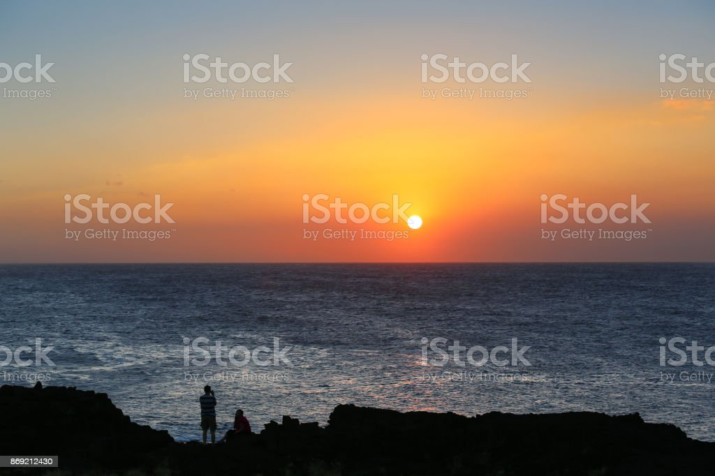 Lover's Sunset Beach stock photo
