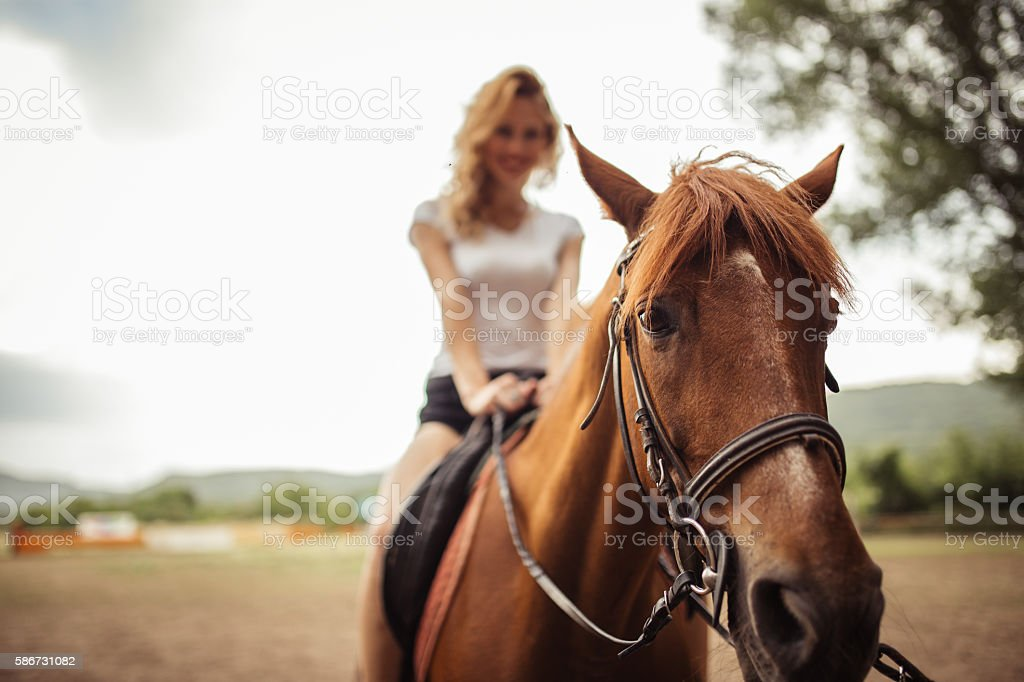 Having fun with horse riding