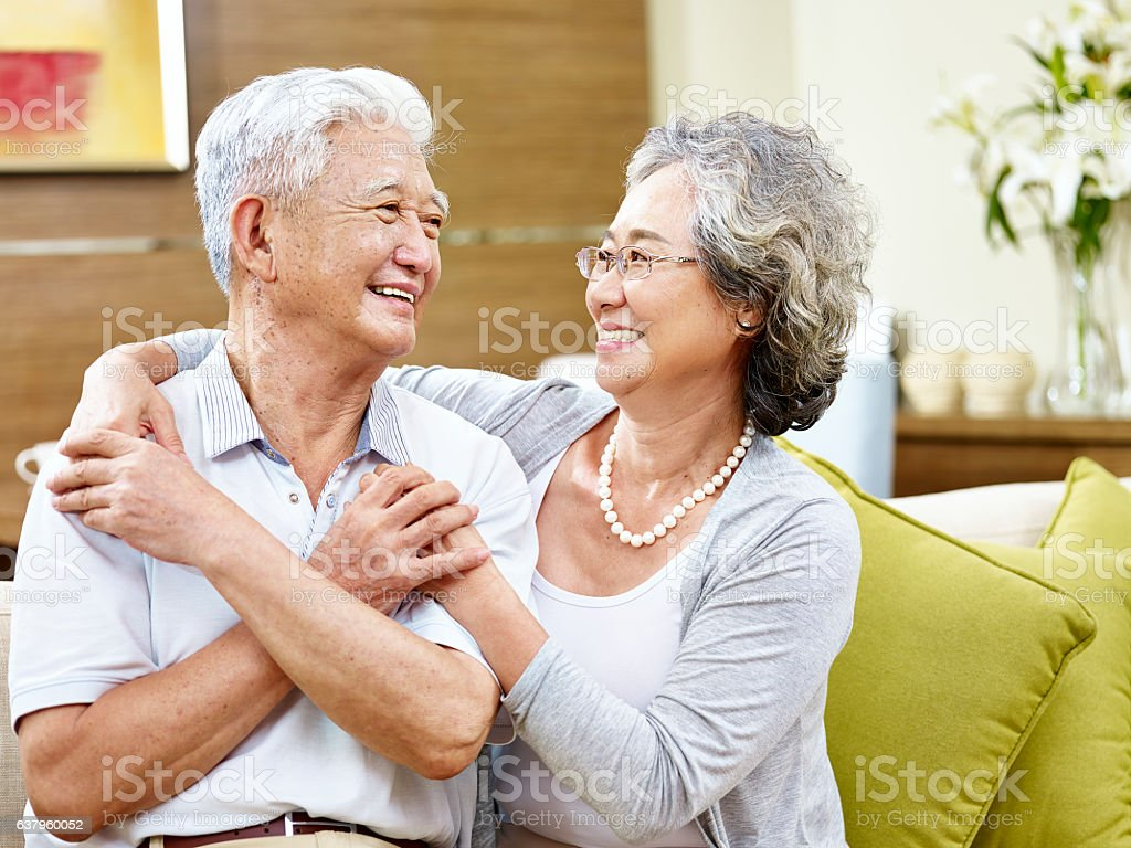 loving asian couple stock photo
