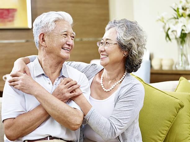 loving asian couple stock photo