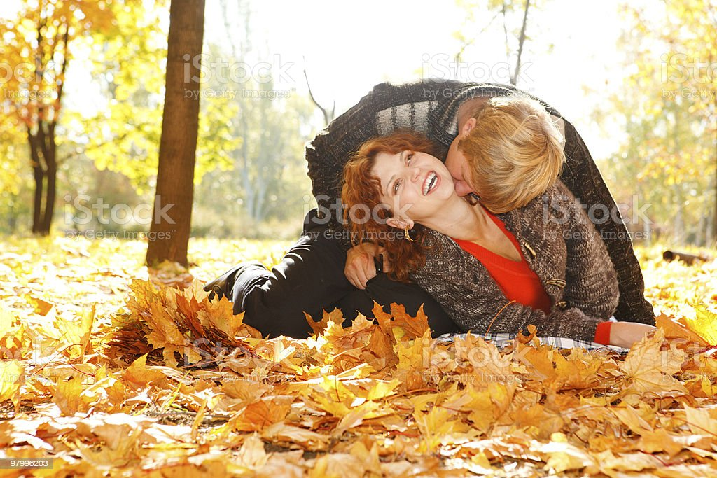 Loving autumn couple royalty-free stock photo