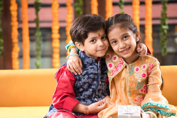 Loving brother and sister stock photo