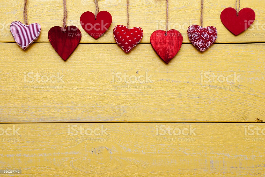 Loving Card With Red And Yellow Hearts, Copy Space royaltyfri bildbanksbilder