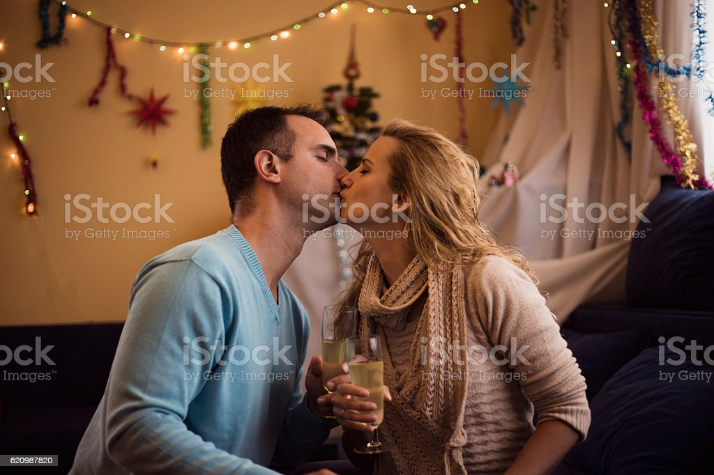 Loving couple at Christmas , New Year eve foto royalty-free