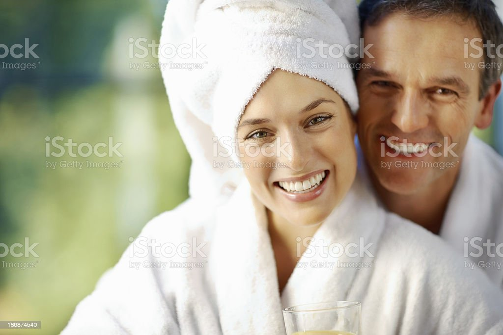 Loving couple at spa royalty-free stock photo