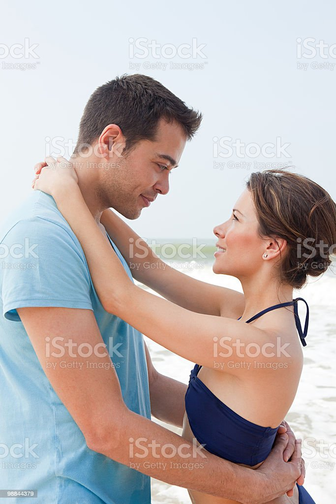 Loving couple by the sea royalty-free stock photo