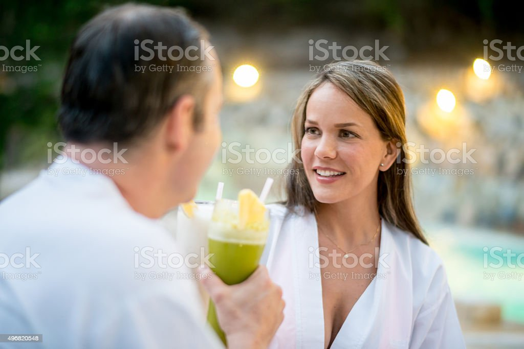 Loving couple celebrating their anniversary stock photo