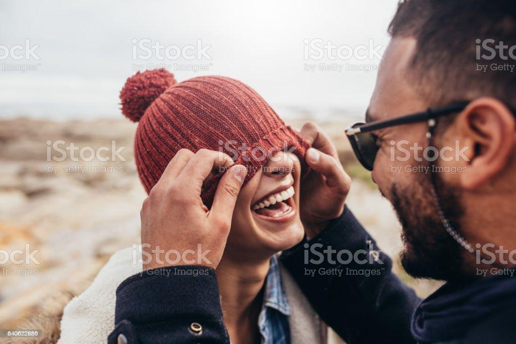 Loving couple having fun outdoors royalty-free stock photo