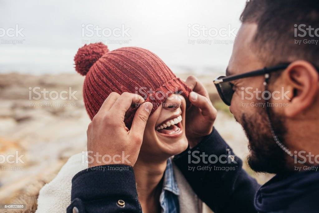 Loving couple having fun outdoors stock photo
