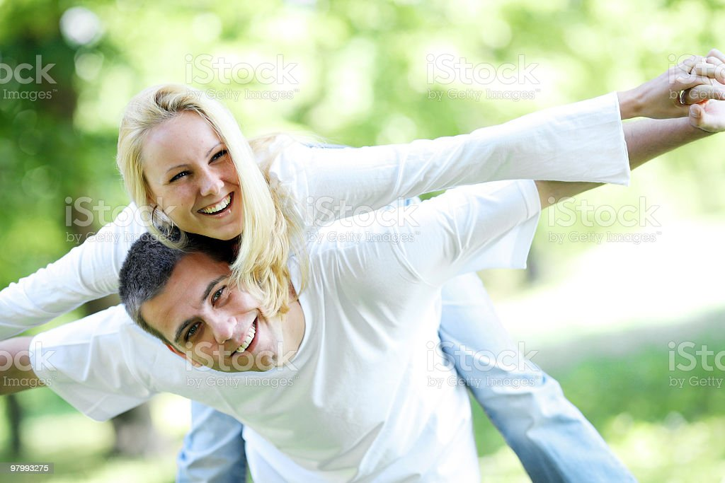 Loving couple having fun outdoors. royalty-free stock photo