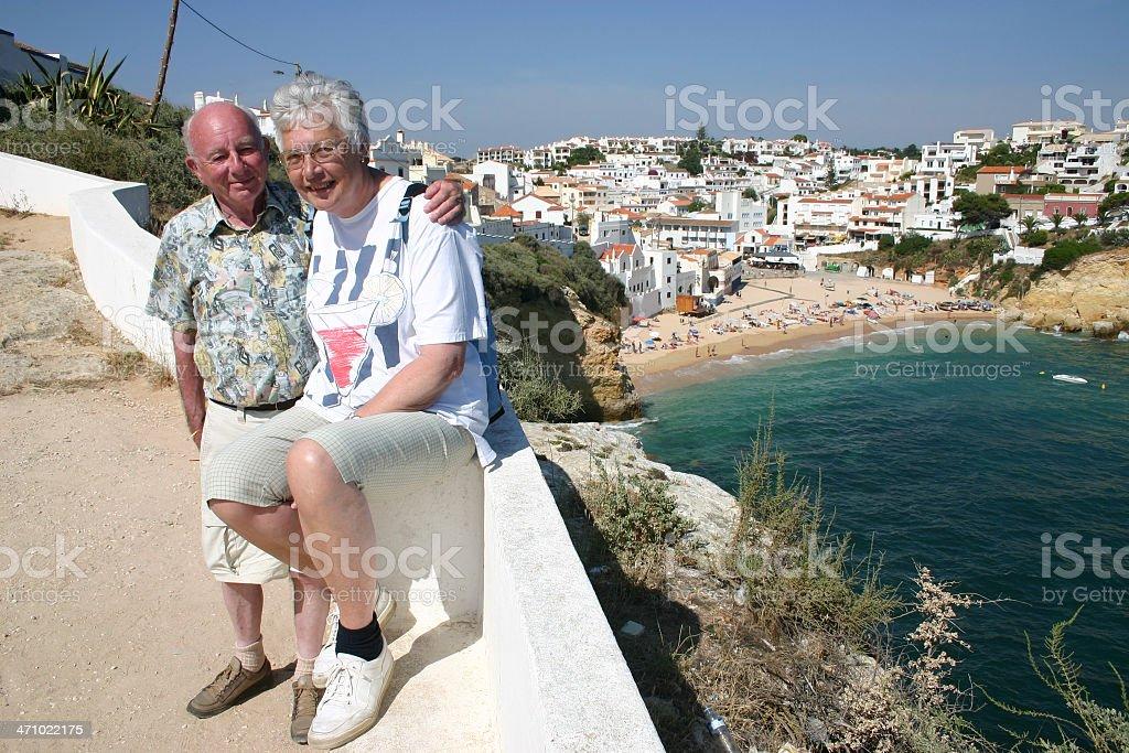 Loving couple in Carvoeiro (Algarve, Portugal) royalty-free stock photo