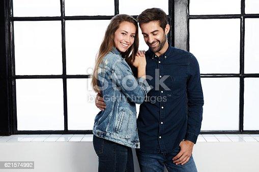 istock Loving couple in denim 621574992