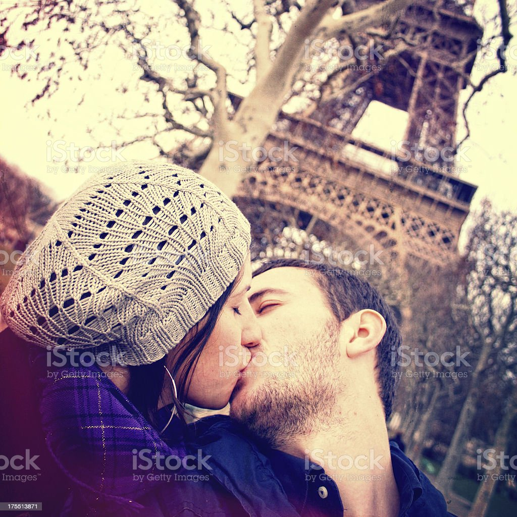 Loving couple in Paris royalty-free stock photo