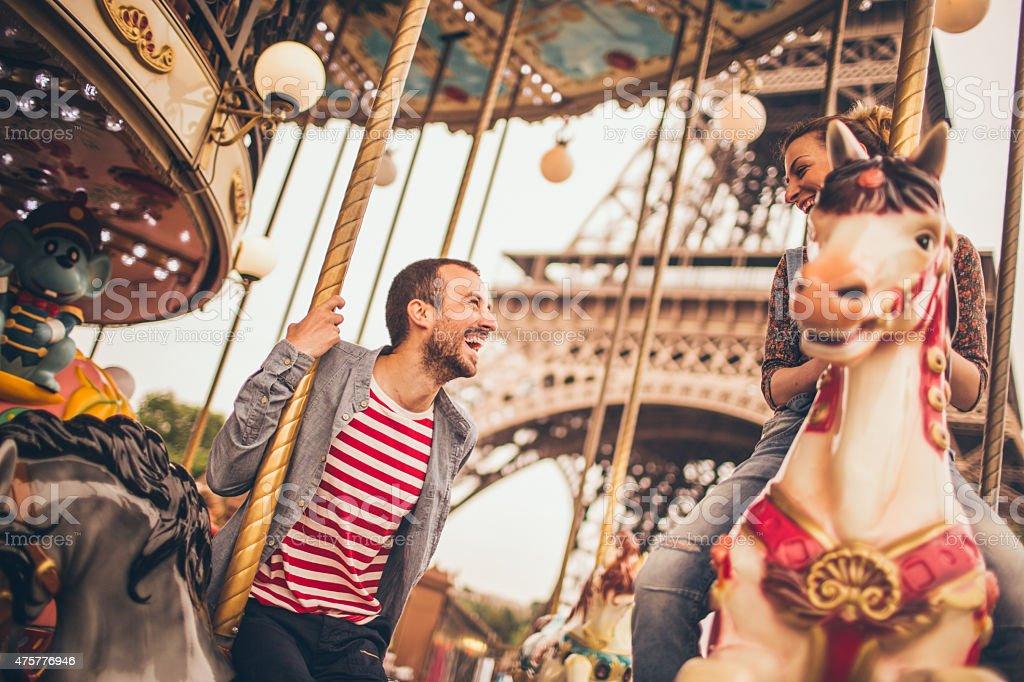 Loving couple in Paris stock photo