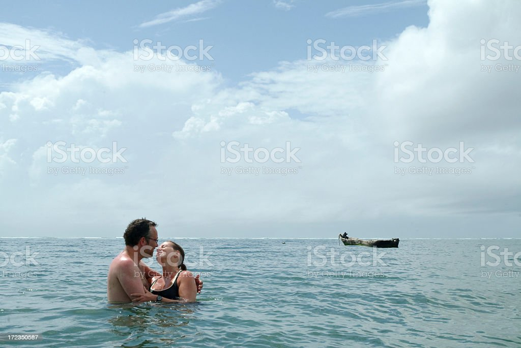 Loving Couple In The Indian Ocean royalty-free stock photo
