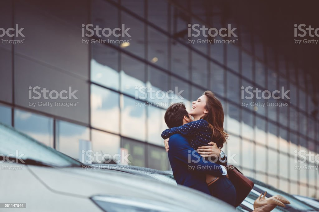 Loving couple meeting after a long parting stock photo