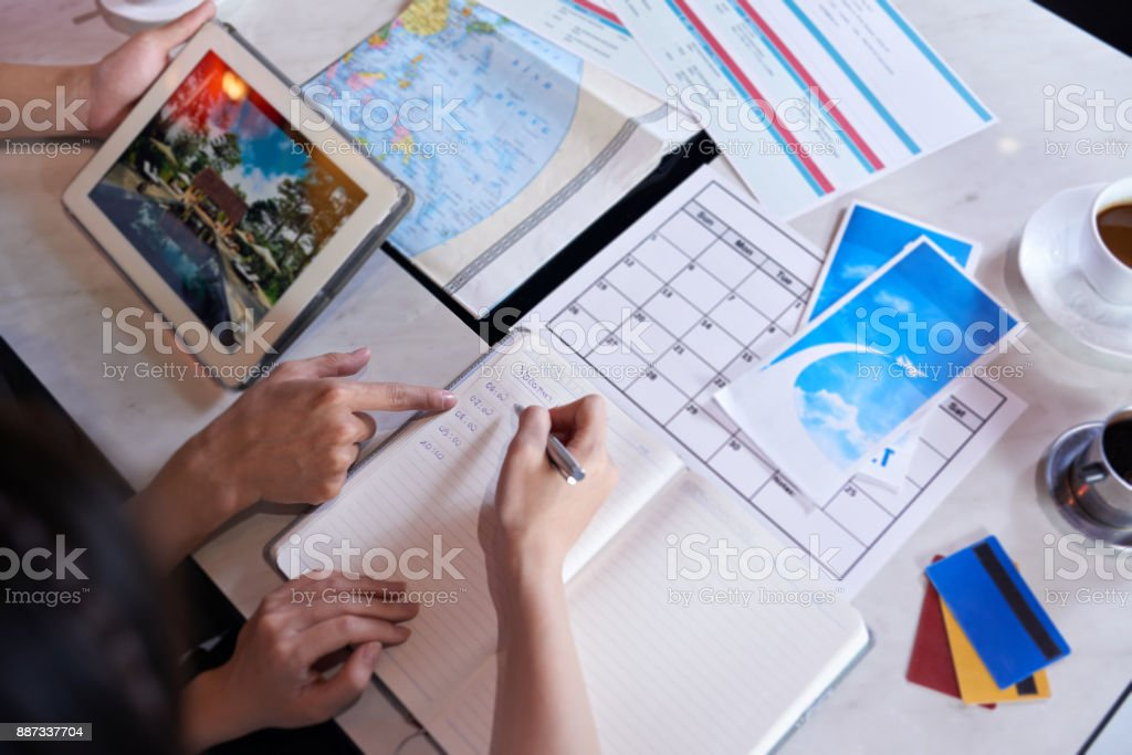 Loving Couple Planning Vacation Trip stock photo