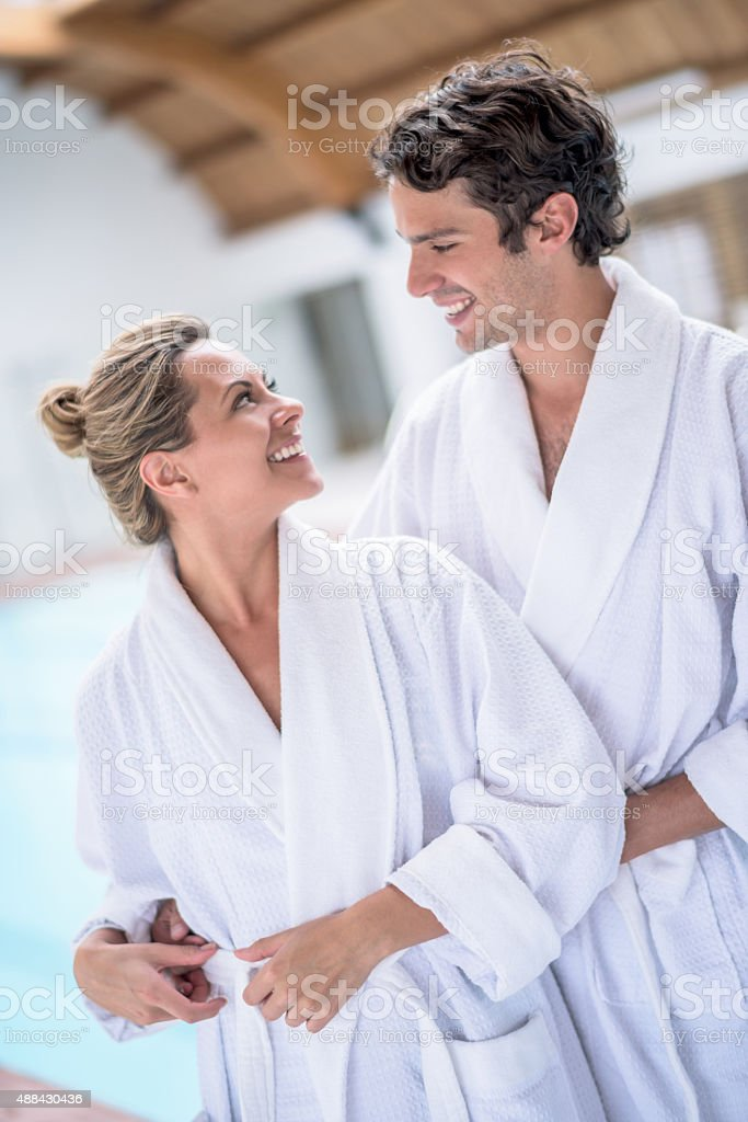 Loving couple relaxing at the spa ストックフォト