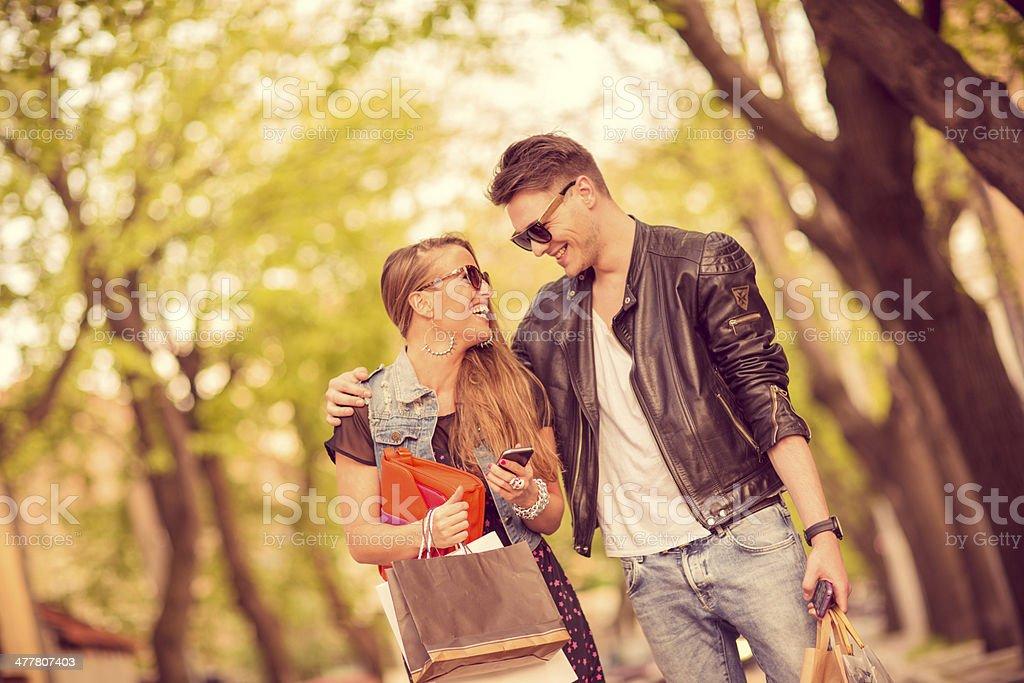 Loving couple shopping royalty-free stock photo