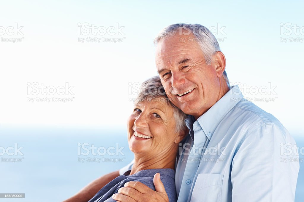Loving couple smiling outdoors royalty-free stock photo