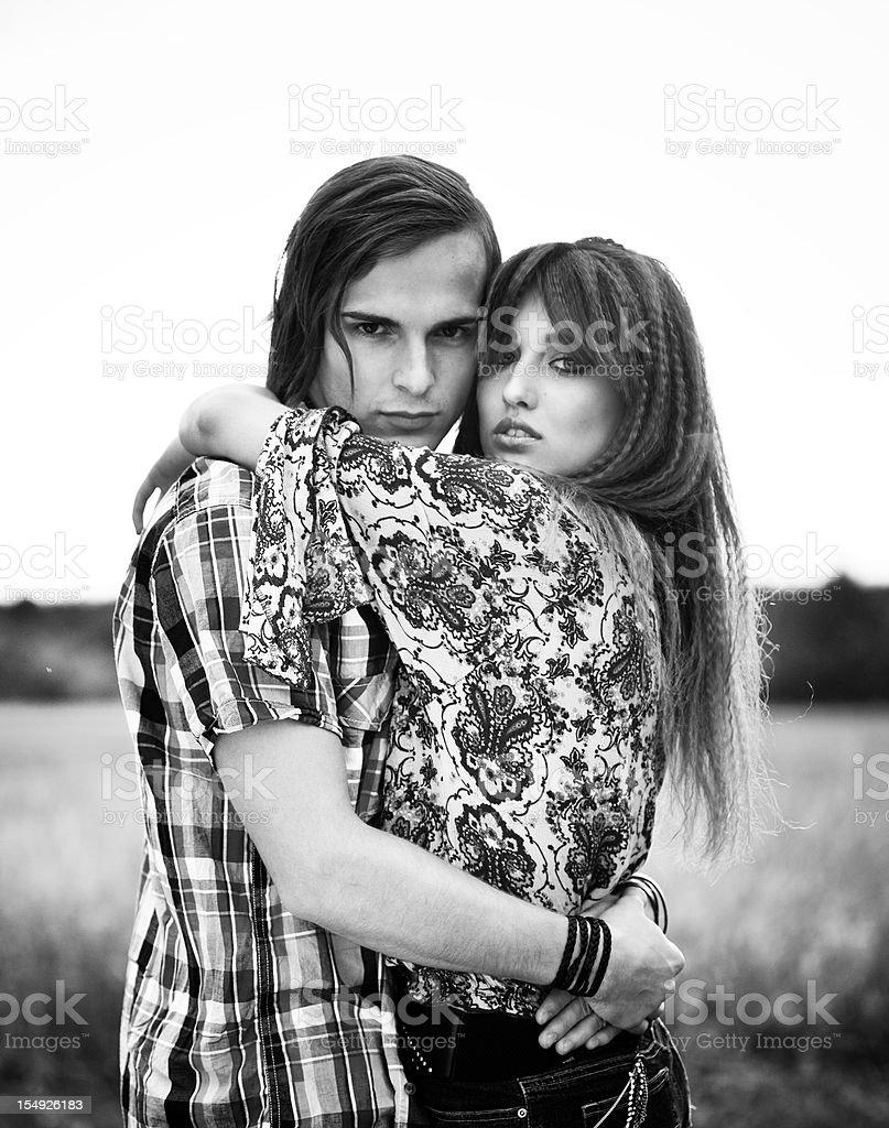 Loving couple teens royalty-free stock photo