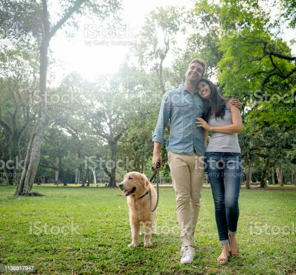 Loving couple walking with their dog outdoors picture id1136817947?b=1&k=6&m=1136817947&s=612x612&h=nqiehwwj u1uugzjpxltuddlhzrajc msyturzfg680=
