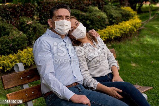 Portrait of a loving adult couple wearing facemasks while relaxing outdoors during the COVID-19 pandemic