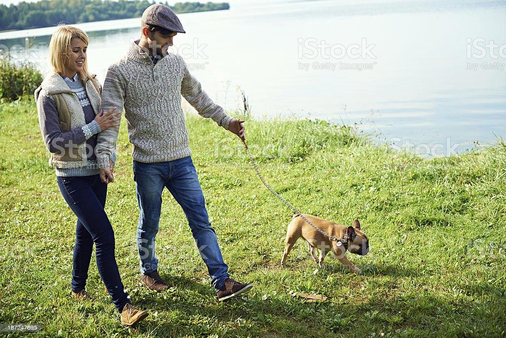 Loving couple with bulldog royalty-free stock photo